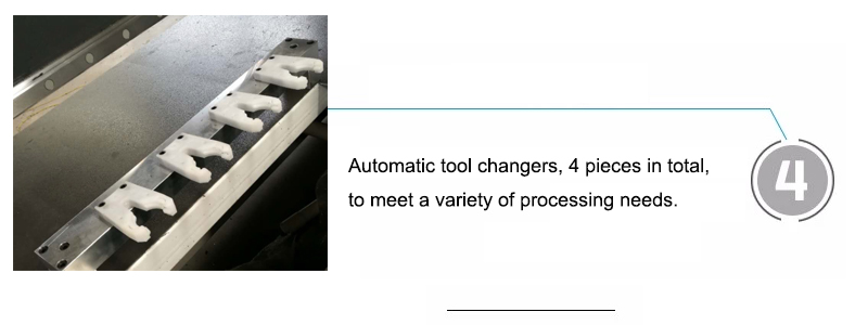 Automatic tool changers, 4 pieces in total, to meet a variety of processing needs.