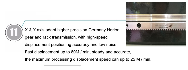 X & Y axis adapt higher precision Germany Herion gear and rack transmission, with high-speed displacement positioning accuracy and low noise. Fast displacement up to 60M / min, steady and accurate, the maximum processing displacement speed can up to 25 M / min.
