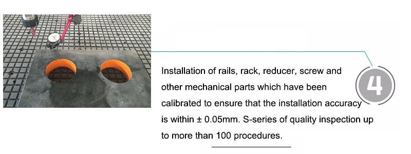 Installation of rails, rack, reducer, screw and other mechanical parts which have been calibrated to ensure that the installation accuracy is within ± 0.05mm. S-series of quality inspection up to more than 100 procedures.