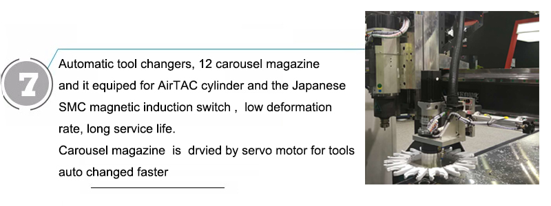 Automatic tool changers, 12 carousel magazine and it equiped for AirTAC cylinder and the Japanese SMC magnetic induction switch ,  low deformation rate, long service life Carousel magazine  is  drvied by servo motor for tools auto changed faster