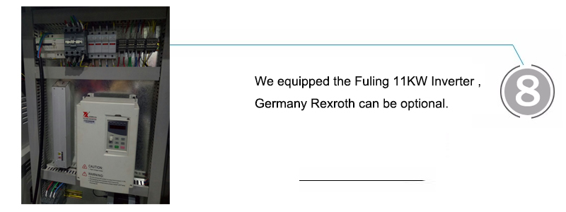 We equipped the Fuling 11KW Inverter ,Germany Rexroth can be optional.