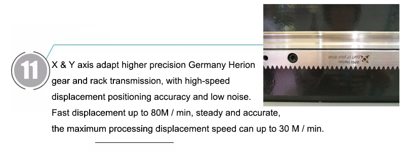 X & Y axis adapt higher precision Germany Herion gear and rack transmission, with high-speed displacement positioning accuracy and low noise. Fast displacement up to 80M / min, steady and accurate, the maximum processing displacement speed can up to 30 M / min.