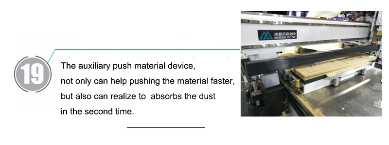 19. The auxiliary push material device, not only can help pushing the material faster, but also can realize to  absorbs the dust in the second time.