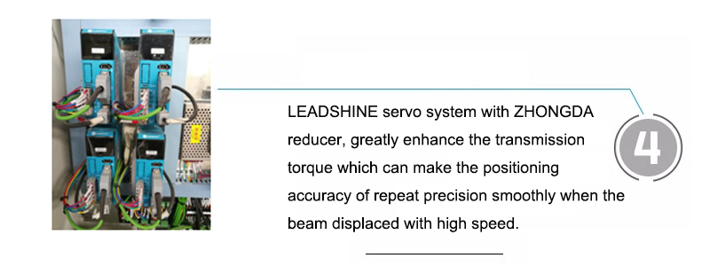 LEADSHINE servo system with ZHONGDA reducer, greatly enhance the transmission torque which can make the positioning accuracy of repeat precision smoothly when the beam displaced with high speed.