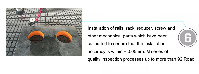 Installation of rails, rack, reducer, screw and other mechanical parts which have been calibrated to ensure that the installation accuracy is within ± 0.05mm. M series of quality inspection processes up to more than 92 Road.