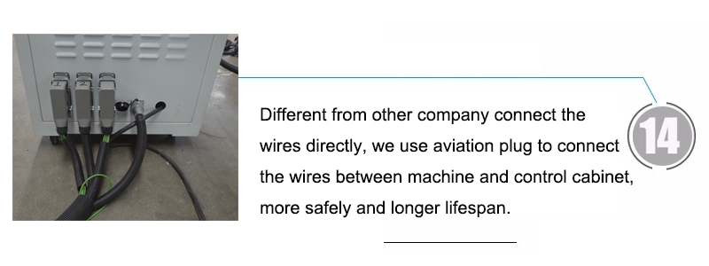 Different from other company connect the wires directly, we use aviation plug to connect the wires between machine and control cabinet, more safely and longer lifespan.